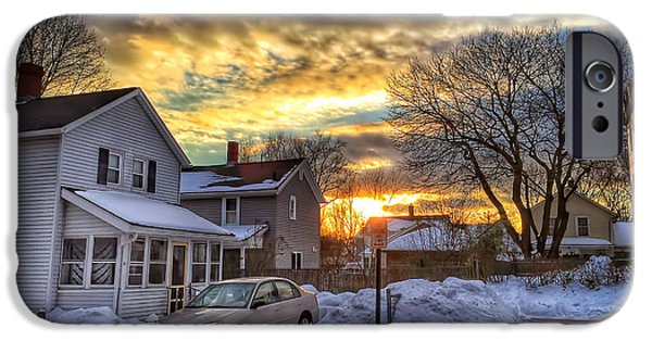 Snowy Evening iPhone Cases - Snowy Sunset iPhone Case by HD Connelly