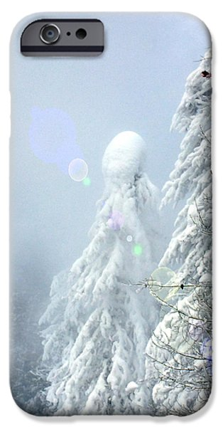 Wintertime iPhone Cases - Snowy trees iPhone Case by Kae Cheatham