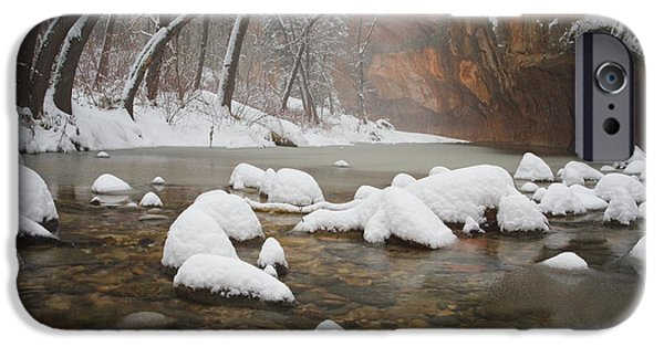 Oak Creek Canyon iPhone Cases - Snowy West Fork iPhone Case by Peter Coskun