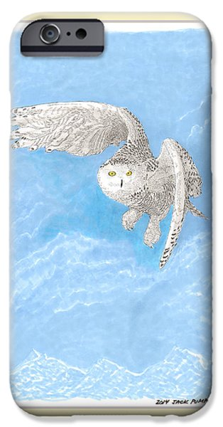 Snowy Drawings iPhone Cases - Snowy White Owl Art iPhone Case by Jack Pumphrey