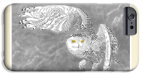 Snowy Mixed Media iPhone Cases - Snowy White Owl Drawing iPhone Case by Jack Pumphrey
