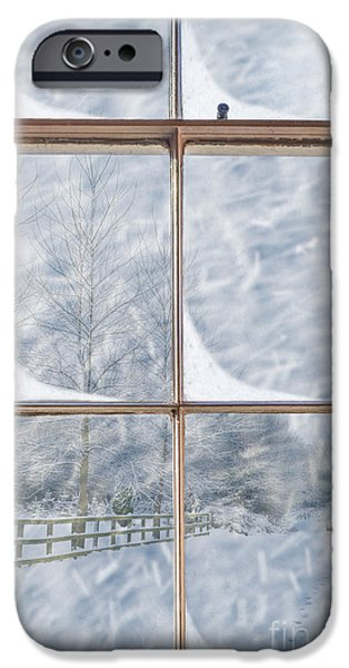 Snowy Scene iPhone Cases - Snowy Window iPhone Case by Amanda And Christopher Elwell