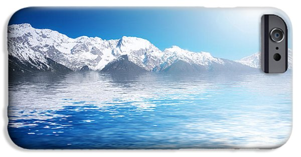 Snowy Day iPhone Cases - Snowy winter mountains. Abstact water iPhone Case by Michal Bednarek