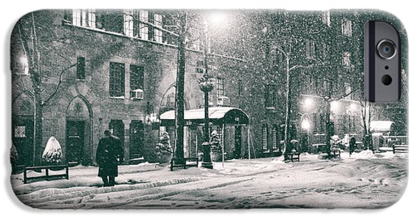 Snowy Night Photographs iPhone Cases - Snowy Winter Night - Sutton Place - New York City iPhone Case by Vivienne Gucwa