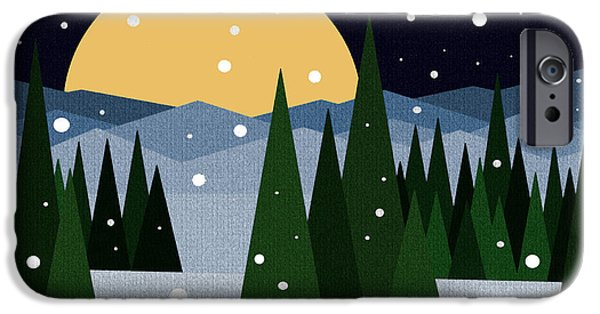 Snowy Night iPhone Cases - Snowy Winter Night iPhone Case by Val Arie