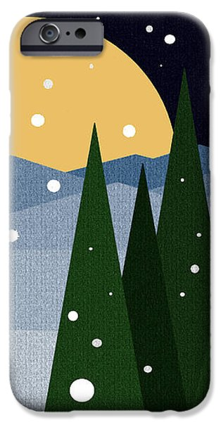 Snowy Winter Night iPhone Case by Val Arie