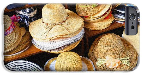 Hat Art iPhone Cases - So Crazy For Hats Amalfi Market Italy Summer iPhone Case by Irina Sztukowski