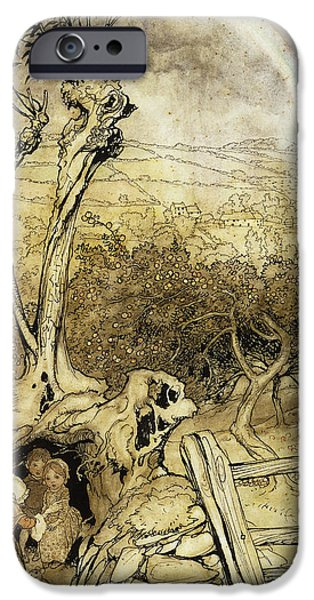 Tree Roots Paintings iPhone Cases - So Nobody Can Quite Explain Exactly Where the Rainbows End iPhone Case by Arthur Rackham