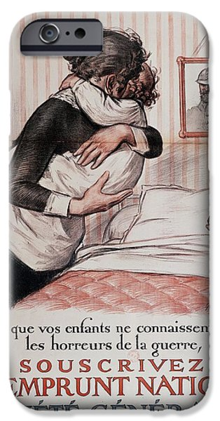 World War One iPhone Cases - So Your Children No Longer Have To Know The Horrors Of War, Subscribe To The National Loan, Poster iPhone Case by Georges Redon