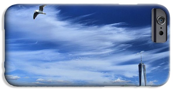Flying Seagull iPhone Cases - Soar Over New York City iPhone Case by Dan Sproul