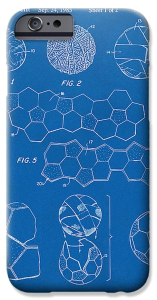 Soccer iPhone Cases - Soccer Ball Construction Artwork - Blueprint iPhone Case by Nikki Marie Smith