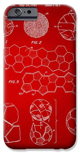 Soccer iPhone Cases - Soccer Ball Construction Artwork - Red iPhone Case by Nikki Marie Smith