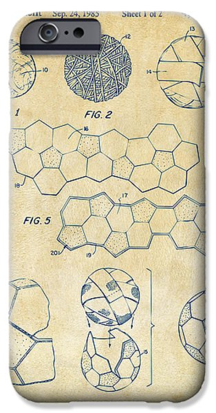 Soccer iPhone Cases - Soccer Ball Construction Artwork - Vintage iPhone Case by Nikki Marie Smith