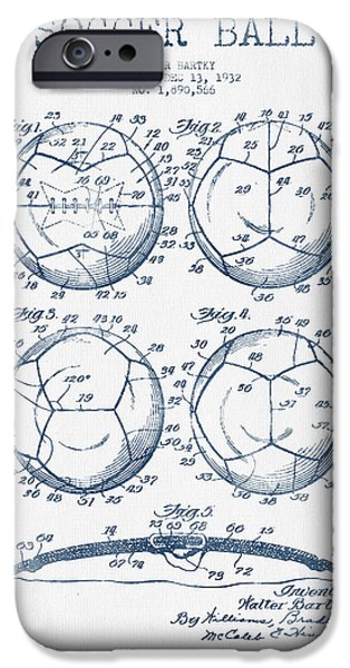 Soccer iPhone Cases - Soccer Ball Patent Drawing from 1932 - Blue Ink iPhone Case by Aged Pixel