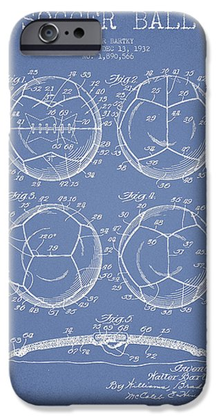 Soccer iPhone Cases - Soccer Ball Patent Drawing from 1932 - Light Blue iPhone Case by Aged Pixel