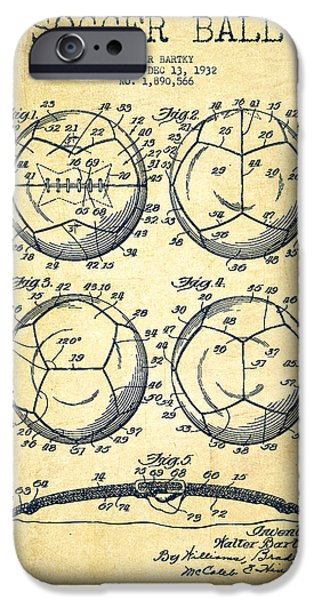 Soccer iPhone Cases - Soccer Ball Patent Drawing from 1932 - Vintage iPhone Case by Aged Pixel