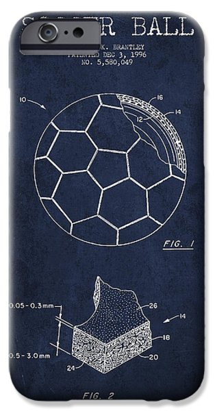 Soccer iPhone Cases - Soccer Ball Patent Drawing from 1996 - Navy Blue iPhone Case by Aged Pixel