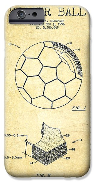 Soccer iPhone Cases - Soccer Ball Patent Drawing from 1996 - Vintage iPhone Case by Aged Pixel