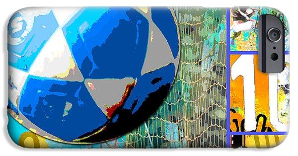 Net Mixed Media iPhone Cases - Soccer Futbol Art Collage iPhone Case by ArtyZen Studios - ArtyZen Home