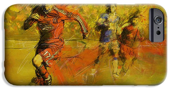 Summer Sports Paintings iPhone Cases - Soccer  iPhone Case by Corporate Art Task Force