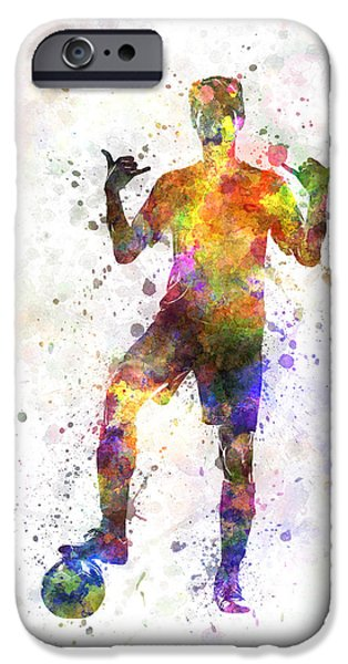 Cut-outs Paintings iPhone Cases - Soccer Football Player Young Man Saluting iPhone Case by Pablo Romero