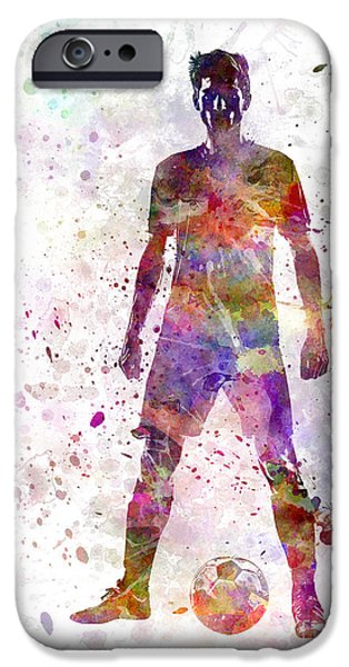 Cut-outs Paintings iPhone Cases - Soccer Football Player Young Man Standing Defiance  iPhone Case by Pablo Romero