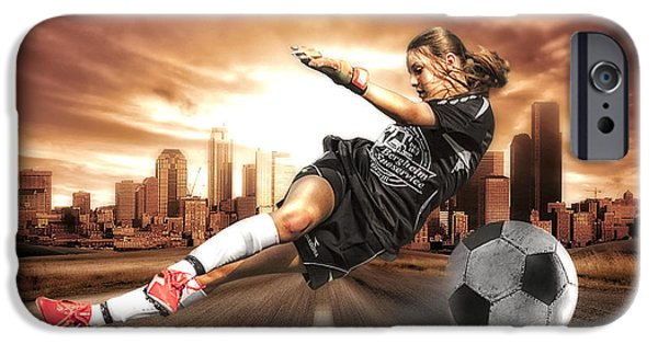Physical iPhone Cases - Soccer Girl iPhone Case by Erik Brede