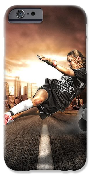 Soccer Girl iPhone Case by Erik Brede