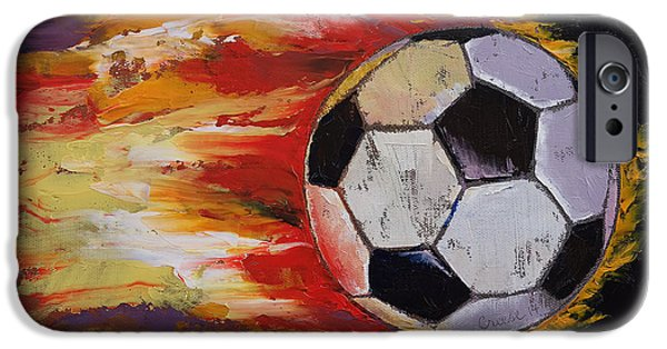 Michael Paintings iPhone Cases - Soccer iPhone Case by Michael Creese
