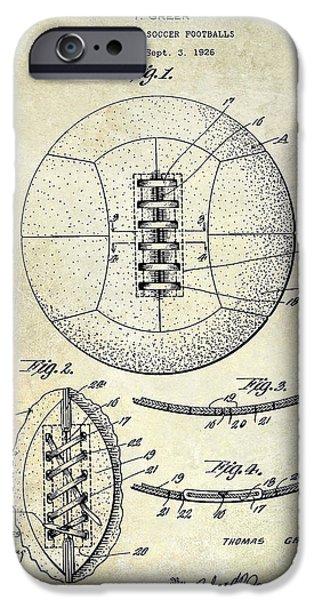 Sports Bar iPhone Cases - Soccer Patent 1926 iPhone Case by Jon Neidert