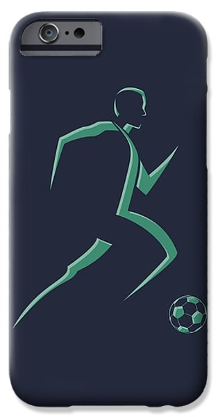 Dynamos iPhone Cases - Soccer Player1 iPhone Case by Joe Hamilton