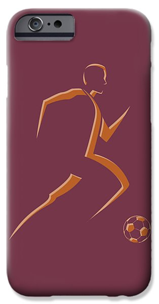 Dynamos iPhone Cases - Soccer Player4 iPhone Case by Joe Hamilton