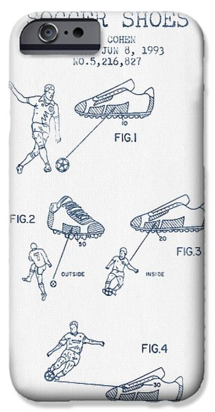 Soccer iPhone Cases - Soccer Shoes Patent from 1993  - Blue Ink iPhone Case by Aged Pixel