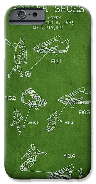 Soccer iPhone Cases - Soccer Shoes Patent from 1993 - Green iPhone Case by Aged Pixel