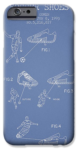 Soccer iPhone Cases - Soccer Shoes Patent from 1993 - Light Blue iPhone Case by Aged Pixel