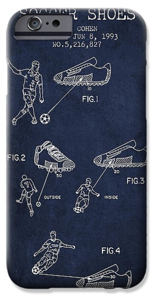 Soccer iPhone Cases - Soccer Shoes Patent from 1993 - Navy Blue iPhone Case by Aged Pixel