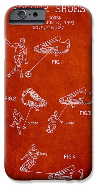 Soccer iPhone Cases - Soccer Shoes Patent from 1993 - Red iPhone Case by Aged Pixel