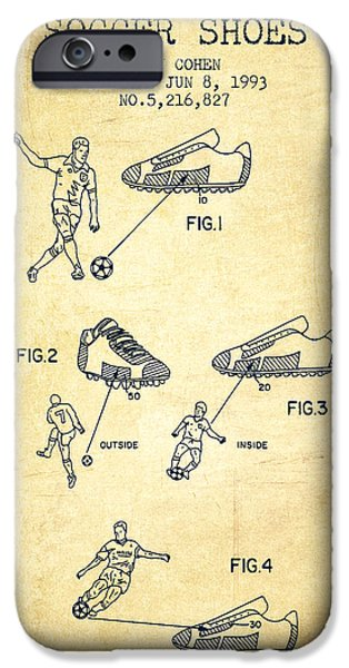 Soccer iPhone Cases - Soccer Shoes Patent from 1993 - Vintage iPhone Case by Aged Pixel