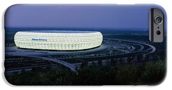 Venue iPhone Cases - Soccer Stadium Lit Up At Nigh, Allianz iPhone Case by Panoramic Images