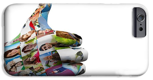 New Generations iPhone Cases - Social media People painted hand in OK sign iPhone Case by Michal Bednarek