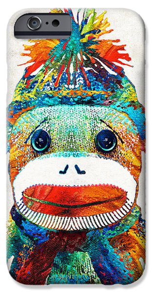 Shower iPhone Cases - Sock Monkey Art - Your New Best Friend - By Sharon Cummings iPhone Case by Sharon Cummings