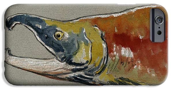 Nature Study Paintings iPhone Cases - Sockeye salmon head study iPhone Case by Juan  Bosco