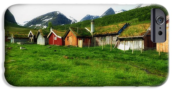 Norway iPhone Cases - Sod Roofs in Norway iPhone Case by Mountain Dreams
