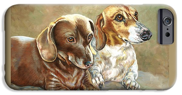 Dachshund Art iPhone Cases - Soffie and Woody iPhone Case by Catherine Garneau