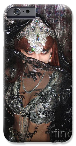 Model Jewelry iPhone Cases - Sofia Metal Queen black metal bellydancer iPhone Case by Sofia Gothic Queen of Hell
