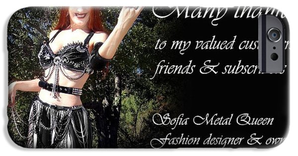 Model Jewelry iPhone Cases - Sofia the Metal Queen. Thank you message to customers iPhone Case by Sofia Gothic Queen of Hell