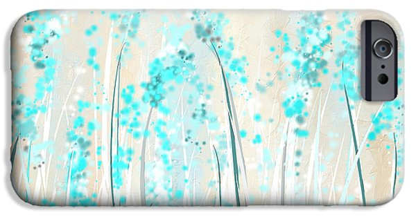 Blue Abstracts iPhone Cases - Soft Blues- Teal And Cream Art iPhone Case by Lourry Legarde