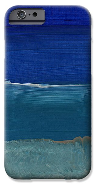Original Mixed Media iPhone Cases - Soft Crashing Waves- Abstract Landscape iPhone Case by Linda Woods
