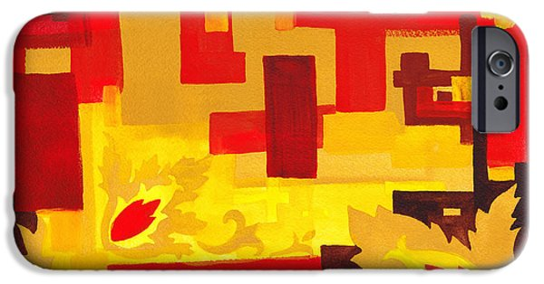 Yellow Line iPhone Cases - Soft Geometrics Abstract In Red And Yellow Impression I iPhone Case by Irina Sztukowski