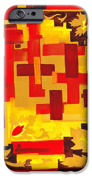Yellow Line iPhone Cases - Soft Geometrics Abstract In Red And Yellow Impression IV iPhone Case by Irina Sztukowski